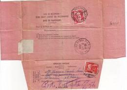 AVIS DE RECEPTION ROSE Gandon 1949 , Rexpedie En POSTE RESTANTE , Lettre Pour Le MINISTRE DE L'EDUCATION NATIONALE - Marcophilie (Lettres)