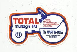 Autocollant , Automobile, Huile , TOTAL Multagri TM , Tracteur,  Ets MARTIN-OSES ,  86, JAUNAY CLAN - Stickers