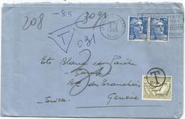 GANDON 15FR BLEU X2 1 DEFAUT LETTRE LEVALLOIS PERRET 1955 POUR SUISSE TAXE 30C - 1945-54 Marianne Of Gandon
