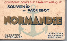 SOUVENIR  Du PAQUEBOT NORMANDIE  Carnet De 24 Cartes Détachables ( Complet) - Piroscafi
