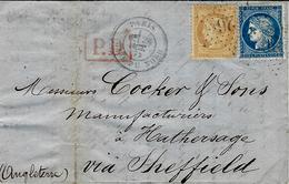1872- Lettre De Paris / Gare Du Nord  Affr. N°60 Et 59 Oblit. étoile 26 + P.D. Rouge Grand Modèle Pour Sheffield - Marcophilie (Lettres)