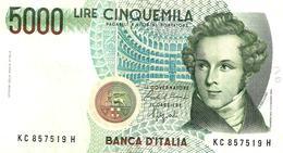 ITALY 5000 LIRE GREE MAN FRONT STATUE BACK DECREED 04-01-1985 SIGN CIAMPI-SPEZIALI  P.111b F+ READ DESCRIPTION !! - [ 2] 1946-… : Repubblica