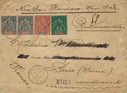 "1904- Enveloppe RECC. De PAPEETE / TAHITI Affr. à 85 C "" Via San Francisco-New-York Pour Paris - Tahiti (1882-1915)"