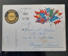 """SIGNATURE ARMISTICE CORRESPONDANCE MILITAIRE 1918 """"C'EST LA JOIE PARTOUT"""" GUERRE 14-18 DRAPEAU FRANCAIS ANGLAIS - 1914-18"""