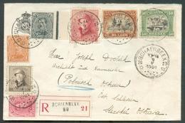 N°135-138-142-143-165-168-183 - Affr. Combiné Em. 1915/ROIS CASQUES à 1Fr. (port Exact) Obl. Sc Agence De SCHAERBEEK 20 - Postmarks With Stars