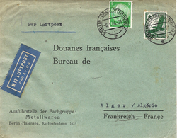 """1936 - Cover """" Per Luftpost """" From BERLIN To ALGER ( French Algeria) Fr. 55 Pf - Alemania"""