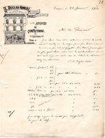 1 Factuur Tongeren Tongres  Au Cochon D'Or L. Declas Robert Aunages & Confections C 1912 Epiceries Vins&Liqueur - Belgique