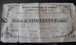 BOUTELLEAU CIE UNION PROPRIETAIRES VIGNOBLES BELLE ACTION ILLUSTREE 500 FRANCS CACHET CHARENTE 1859 BARBEZIEUX 16 VIN - Factures
