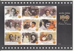 India MNH 2013 MS ⅙ , 100 Years Of Indian Cinema, Actor, Art, Music, Ashok Kumar, Ganguly, Dev Anand, Chopra, Sircar - Unused Stamps