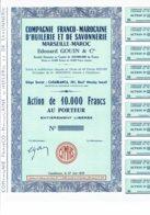 MAROC-HUILERIE Et De SAVONNERIE MARSEILLE-MAROC Edouard GOUIN. Action 1959 - Shareholdings