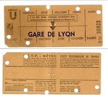 Carte Hebdomadaire De Travail / RATP-Métro / Gare De Lyon - Abonnements Hebdomadaires & Mensuels