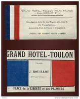 ETIQUETTES - TOULON (VAR) - GRAND HOTEL JULIUS BOUILLOT - PLACE DE LA LIBERTE ET DES PALMIERS - Vieux Papiers