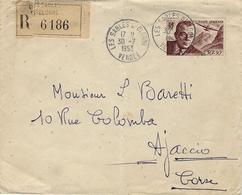 1953- Enveloppe Des Sables D'Olonne Affr. N° 21 Ae  SEUL Pour Ajaccio - Postmark Collection (Covers)