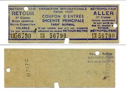 Mixte Ticket Aller-retour Métropolitain Et Ticket Entrée Exposition Internationale De 1937 - Subway