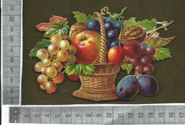 CHROMO DECOUPIS GAUFRÉ / BELLE CORBEILLE DE FRUITS / RAISIN, NOIX, PRUNE, CERISE... - Flowers