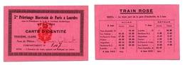 Carte D'identité Nominative Pour Voyage Train 3ème Classe / Pélerinage à Lourdes 1912 - Railway