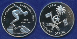 Malediven 250 Rup. 1990 Olympia Barcelona 1992 Ag925 31,4g - Maldives