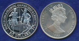 Cook-Islands 50 Dollar 1989 Albertville 1992 Ag92528,2g - Cook Islands