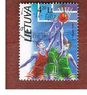 LITUANIA (LITHUANIA)   - MI 624  -   1996 OLYMPIG GAMES: BASKETBALL (LITHUANIAN TEAM, BRONZE) FROM BF  -     USED - Lituania