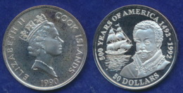 Cook-Inseln 50 Dollar 1990 Francis Drake Ag925 1oz - Cook Islands