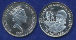 Cook-Inseln 50 Dollar 1990 Pedro Alvares Cabral Ag925 1oz - Cook Islands