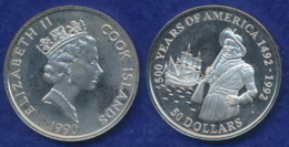 Cook-Inseln 50 Dollar 1990 Henry Hudson Ag925 1oz - Cookinseln