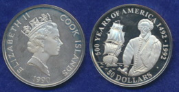 Cook-Inseln 50 Dollar 1990 Walter Raleigh Ag925 1oz - Cook Islands