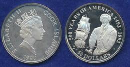 Cook-Inseln 50 Dollar 1990 Walter Raleigh Ag925 1oz - Cook