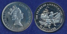 Cook-Inseln 50 Dollar 1991 Pilger Und Mayflower Ag925 1oz - Cook