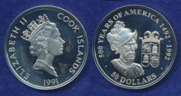 Cook-Inseln 50 Dollar 1991 Fracisco Pizarro Ag925 1oz - Cook Islands