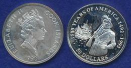 Cook-Inseln 50 Dollar 1990 Henry Hudson Ag925 1oz - Cook Islands