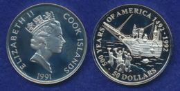 Cook-Inseln 50 Dollar 1991 Bostoner Teeparty Ag925 1oz - Cook