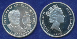Cook-Inseln 10 Dollar 1990 Kolumbus Und Santa Maria Ag925 10g - Cook Islands