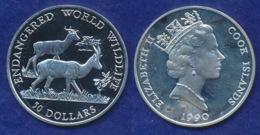 Cook Islands 50 Dollar 1990 Dama-Gazelle Ag925 19,2g - Cook Islands