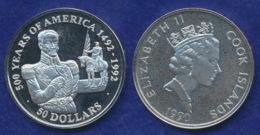 Cook-Inseln 50 Dollar 1990 Simon Bolivar Ag925 1oz - Cook Islands