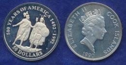 Cook-Inseln 50 Dollar 1990 Cortez Und Montezuma Ag925 1oz - Cook