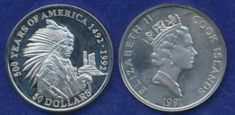 Cook-Inseln 50 Dollar 1991 Sitting Bull Ag925 1oz - Cookinseln