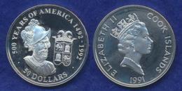 Cook-Inseln 50 Dollar 1991 Francisco Pizarro Ag925 1oz - Cook