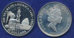 Cook-Inseln 50 Dollar 1991 Maya-Priester Ag925 1oz - Cook