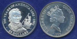 Cook-Inseln 50 Dollar 1991 Alexander Mackenzie Ag925 1oz - Cook