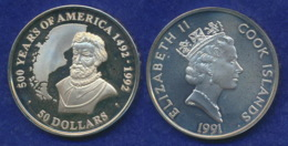 Cook-Inseln 50 Dollar 1991 500 Jahre Amerika Ag999 1oz - Cook