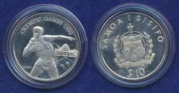 Samoa 10 Dollar 1991 Kugelstoßen Ag925 31,4g - Samoa