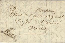 Sas Date - Lettre Avec Cursive 42 / Nort  + P.P. Noir  Pour Nantes - Marcophilie (Lettres)