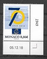 Monaco 2019 -  Yv N° 3187 ** - 70e ANNIVERSAIRE DU CONSEIL DE L'EUROPE - Neufs