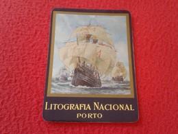 CALENDARIO DE BOLSILLO MANO PORTUGAL PORTUGUESE CALENDAR 1991 LITOGRAFÍA NACIONAL PORTO IMAGEN DE BARCO SHIP BOAT...VER - Tamaño Pequeño : 1991-00
