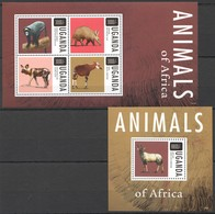 SS423 2013 UGANDA FAUNA ANIMALS OF AFRICA 1BL+1KB MNH - Timbres