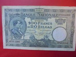 BELGIQUE 100 FRANCS 1931 CIRCULER - 100 Francs & 100 Francs-20 Belgas