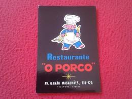 CALENDARIO DE BOLSILLO MANO PORTUGAL PORTUGUESE CALENDAR 1986 RESTAURANTE RESTAURANT O PORCO CERDO PIG COCHINO PORK..... - Calendarios