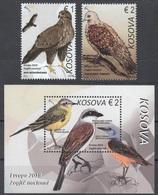 Kosovo 2019 Europa Birds Animals Fauna Buzzard Dove Tit Shrike Thrush Stamps + Souvenir Sheet Block MNH - Kosovo