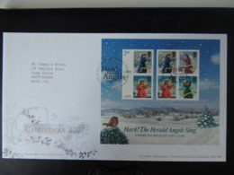 GB 2007 FDC - Miniature Sheet Christmas Tallents Postmark First Day Cover Angels Robin Birds Religion - FDC